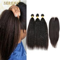 Discount yaki perm human hair weave - Raw Indian best quality kinky straight weave with closure Indian perm yaki human hair with closures cheap italian yaki closure with bundles