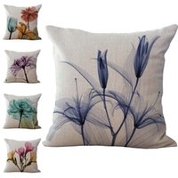 Wholesale Flower Watercolor Paintings - Watercolor painting Flower Pillow Case Cushion cover Linen Cotton Throw Pillowcases sofa Bed Pillow covers DROP SHIPPING