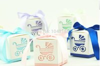 Wholesale Shower Favor Box - Free shipping baby shower 100pcs Baby carriage ribbon Wedding favor paper box favour gift candy boxes Best candy box 20170120#
