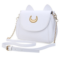 Summer Sailor Moon Ladies Handbag Black Luna Cat Chain Shoulder Bag Кожаные женщины Messenger Crossbody Small Bag