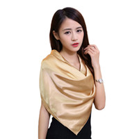 Wholesale Thin Scarf Men - Wholesale-Hot Sale Square Scarves 90*90 cm Women Imitated Silk Chiffon Scarf Solid Womens Scarfs Fashionable Soft Thin Shawls and Scarves