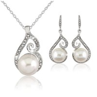 Wholesale Spiral Charm Necklace - Crystal Pearl Spiral Pendant Necklace Earrings Jewelry Sets Silver Chain Fashion Jewelry for Women Gift 162084