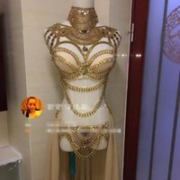 Wholesale Sexy Jazz Costumes - 2017 new female sexy sequin costumes golden silver Nightclub DS show force party Modern steel Jazz occupation dancer singer bar
