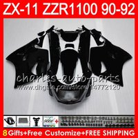 Wholesale 1992 zx11 black - 8Gifts 23Colors For KAWASAKI NINJA ZX11 ZX11R 90 91 92 ZZR 1100 21NO17 Matte black ZX 11 11R ZZR1100 ZX-11R ZX-11 1990 1991 1992 Fairing Kit