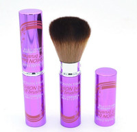 ingrosso polvere di viso marrone-Fondotinta per pennelli per trucco in alluminio Setole in fibra per manico in polvere