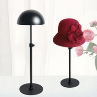 Wholesale metal exhibition stands - Black Metal Hat Display Stand Rack Adjustable Hat Holder Cap Wig Exhibition For Boutique Store Free Shipping ZA4190