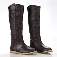 Wholesale korean knee high boots - Wholesale-New flat Knee High Boots Casual Shoes for Women South Korean Spring Boots women's fashion knee high boots shoes large size 34-43