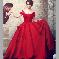Wholesale Images Dance - Sais Mhamad Red Prom Dresses Ball Gown Cap Sleeve Satin Velvet Long Evening Dresses High Quality Princess Dancing Wear Women Party Gowns