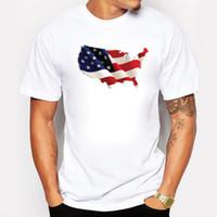 Wholesale Purple Map - 3D America Flag Map Print Men T-shirt Short Sleeves Male White Cotton Mens Tee O-neck Summer T Shirt Fit Vetement Homme