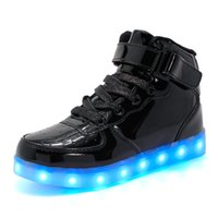 Wholesale Led Black Leather Band - LED Light Up Shoes Boots Spring Summer Fall Winter Comfort Light Up Shoes Leather Casual Flat Heel Lace-up Black Red White Silver Gold