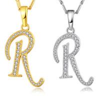 necklace r toptan satış-NAKELULU Sermaye İlk R Mektup Kolye Kolye Altın Renk Kadınlar Için Kübik Zirkonya Kristal Alfabe Takı Moda