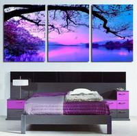 Wholesale Cheap Purple Wall Art - Unframed Art Wall Deco Canvas Painting Purple Cloud Scenery 3 Piece Art Cheap Picture Home Decor on Canvas Modern Wall Prints