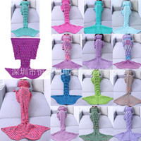 Wholesale twin tail - 33yh Creative Mermaid Blanket Adult Models Colorful Wool Knit Fish Scales Blankets Textiles Fishes Tail Sleeping Bags For Home Sofa Hot