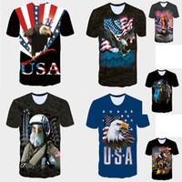 Wholesale Usa Eagle Shirt - 2017 Summer new 3D T shirts trump shirts mens tshirt American USA flag Eagle soldier printed men's Short Sleeve T-Shirts