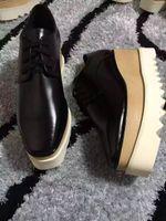 Wholesale Platform Soled Shoes - Stella Mccartney Shoes Platform Oxfords Elyse Black Window-box Leather White Sole Low Top