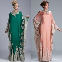 abaya für partei großhandel-Elegante korallenrote arabische Kaftan-Abend-Kleider mit langärmeliger Applique-Spitze formale Partei-Kleider Dubai Abaya nach Maß