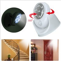 Wholesale Touch Activated Led - Cordless Motion Activated Sensor Light Lamp 360 Degree Rotation Wall Lamps ordless Stick Up Hot Premium Light Wall Lamp 7 LED KKA1322