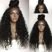 Wholesale Woman Wigs Japan - 24 inch Water Wave Soft Long Black Lace Front Wigs Synthetic Hair Heat Resistant Japan Fiber Wigs For Black Women Middle Parting Wholesale