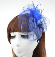Wholesale Wholesale Feather Fascinators - MEW Fashion Fascinators Mini Top Hat Hair lace feathers Wedding Party Hair Accessories 9 color F022