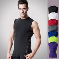 Uomo Cool Dry Compression Muscle Tank Base strato T-shirt senza maniche Athletic Fit
