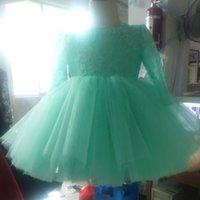 Wholesale Turquoise Dresses For Girls - Lovely Toddler Flower Girl Dresses Turquoise Lace Top Crystals Illusion Long Sleeve Puffy Tulle Short Flowergirl Dress for Weddings