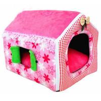 ev tarzı evcil hayvan toptan satış-TAILUP 3 Renkler Sevimli Prenses Tarzı Pembe Pet House Yumuşak Köpek Yatağı