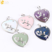 Wholesale Jewellery Heart Stones - CSJA Natural Stone Jewelry New Arrival Rose Flower Pendant Leaf Necklace Copper Real Love Heart Gemstone Crystal Jewellery for Girl E073 A