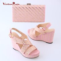 Wholesale Pink Suede Wedges - 2017 in summer High heel ladies pink cross straps shoes with matching fashion bag for women in wedding party
