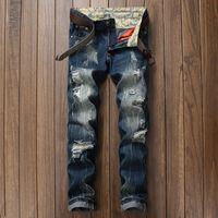 Wholesale Wide Leg Hip Hop Jeans - Mens Baggy Jeans Men Wide Leg Denim Pants Hip Hop 2017 New Fashion Embroidery Skateboarder Jeans Free Shipping