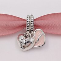 Wholesale Pandora Daughter Bead - Mothers Day 925 Silver Mother & Daughter Hearts Pendant Charms Fits European Pandora Style Jewelry Bracelets & Necklace 792072EN40 Mom Gifts