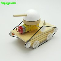 Wholesale tank models toys - Happyxuan Cool Kids Creative DIY Assembled Tank Model Kits Wood Handicraft Material Homemade Experiment Science Toys Educational