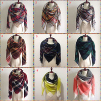 Wholesale Wholesale Cashmere Wraps - 2017 Women blanket Scarf Cozy Oversized Tartan Tassel Scarf New Wrap Grid Shawl Check Pashmina Cashmere acrylic Lattice Neck plaid Stole