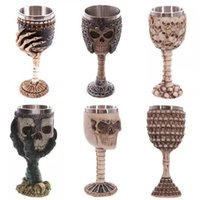 Wholesale Bone Skulls - 200ml Double Wall Resin Stainless Steel 3D Skull Drinking Mug Personalized Dragon Bone Skull Metal Wine Goblet Cup Mug