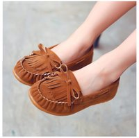 Wholesale soft pink soles online - DHL girls fashion casual shoes spring autumn kids tassel shoes kids Fringe Soft Sole Non slip Footwear shoes