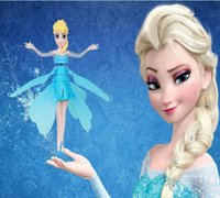 Wholesale Start Toys - Frozen New Princess Dolls flying anna Elsa Toys Automatically start Flying Induction Frozen Toys rc helicopter Brinquedos Kids Dolls no base