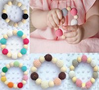 Wholesale Wooden Round Beads - 7 Colors Ins Hot Selling Infant Baby Wool Ball Teether Beads Baby Wooden Teething Training Nursling Raw Wood Teeth Baby Toys