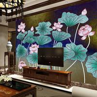fondo de pantalla de loto en casa al por mayor-papel pintado mural de la pared de la foto para las paredes 3 fondos de escritorio de la pintura de Lotus para la sala Decoración casera de la pared de la nueva llegada mrals