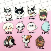 Vente en gros - 1pc Japonais Harajuku Cartoon Cute Dog Cat Broche en plastique Badges en acrylique Pins Safe Broche Boy Girl Women Jewelry Gift