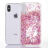 Wholesale Glitter Diamond Hard Iphone Case - Hot Glitter TPU Full Dynamic Liquid Diamond Quicksand cover For IPhone X 6 6S 7 8 Plus Transparent Clear Hard Phone Case