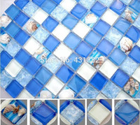 mixed europe interior wall new blue resin with embedded shell mosaic backsplash tile bathroom