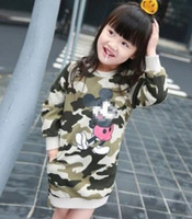 Wholesale Micky Mouse Clothes - 2017 Spring Children Girls Cartoon Printed Long Sleeve Dresses Kids Long Top Shirts Camouflage Micky Mouse Dress Girls Clothing ids Long Top