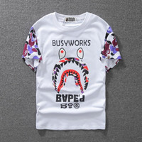 Wholesale Thin T Shirt Dress - Tide Brand Men And Women Lovers Dress Short Sleeve Superior Quality Shark T shirt for Pity 062 t-shirt fashion tshirts Men's Clothing