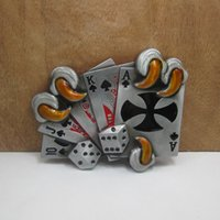 Wholesale cross play - BuckleHome playing card belt buckle with cross with pewter finish FP-03053-1 with continous stock free shipping