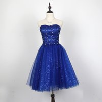 Wholesale Elegant New One Shoulder Beading - Royal Blue Lace Tulle Ball Gown Prom Dress Lace Up 2017 New Short Party Dress Elegant