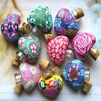 Wholesale fimo polymer clay - Hot Empty Bottle 2ml Heart-shaped Fimo Essential Oil Bottles Smelling Wish Polymer Clay Bottle Wedding Gifts Perfumes Fragrances