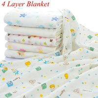 Wholesale Boy Animal Print Baby Blanket - INS Xmas Newborn Infant Play Mat 4 Layers Baby Swaddle Blanket Winter Baby Blankets Cotton Baby Bedding Newborn Receiving Blanket