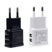 мобильные зарядные устройства china оптовых-Двойные порты USB AC зарядное устройство 5V 2A EU Plug адаптер питания для универсального смартфона android мобильный телефон сделано в Китае
