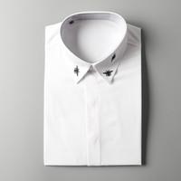 Wholesale Mens Poplin Shirts - Small bees embroidery fashion designer shirts~ business shirt mens~men shirt long sleeve western shirts