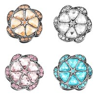 20mm Charm Rhinestone Styles Flower Shape Unique DIY Noosa Chunks Botas Snaps Acessórios para Jóias Rivca Button For Necklace N136S