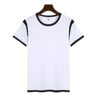 Wholesale Shirts For Sublimation Wholesalers - Summer Basic T-shirts Short Sleeve T shirt Modal Fabric for Sublimation Printing Sports Tees Plain White with Color Collar
